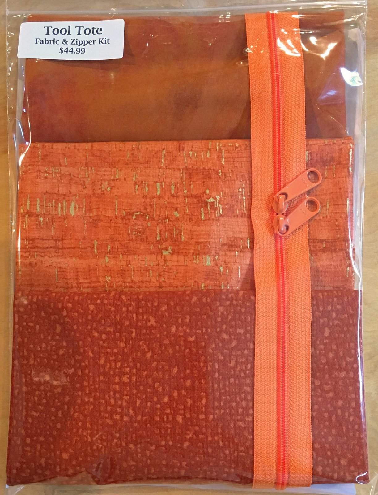Tool Tote Orange Trio - Fabric & Zipper Kit ONLY