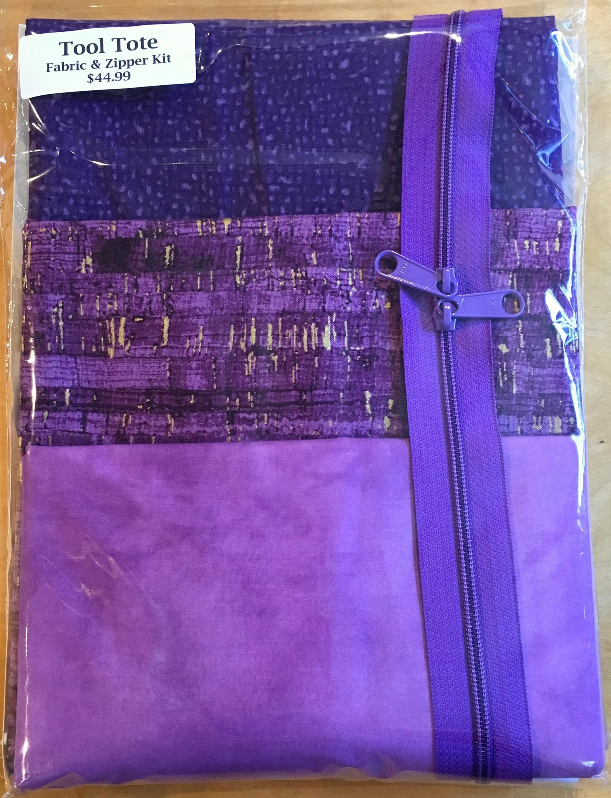 Tool Tote Purple Trio - Fabric & Zipper Kit ONLY