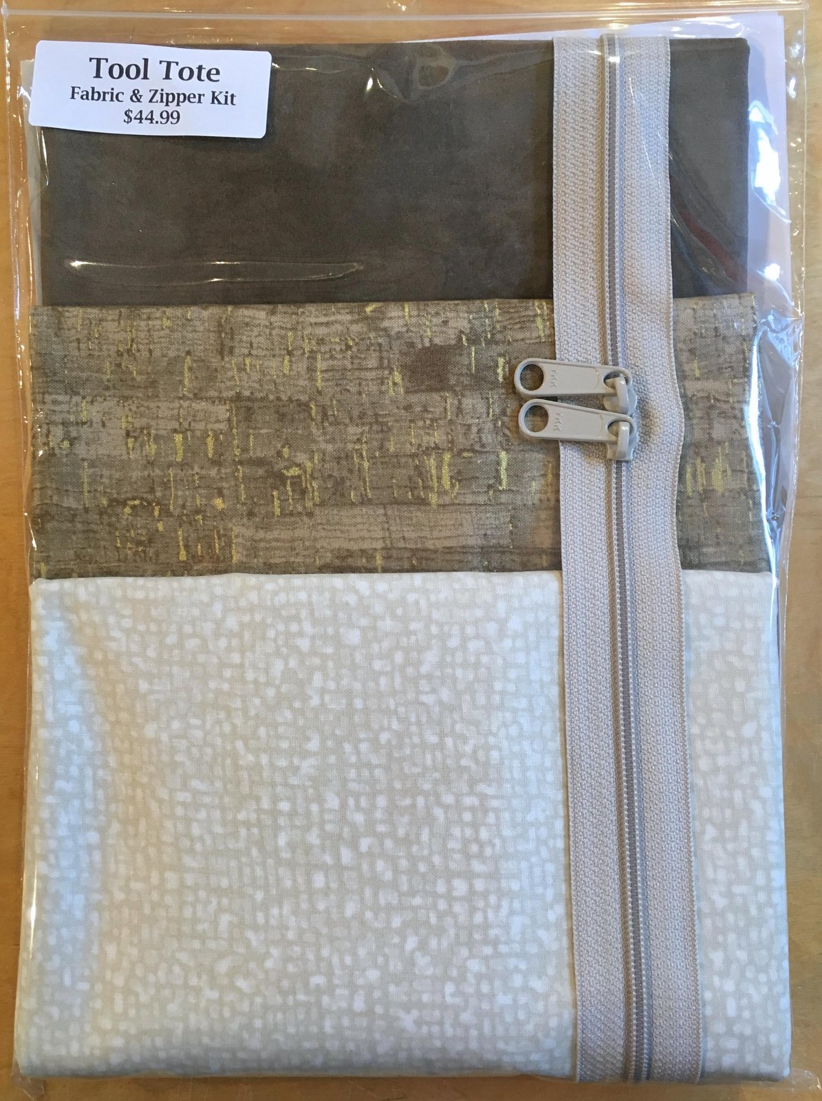 Tool Tote Tan Trio - Fabric & Zipper Kit ONLY