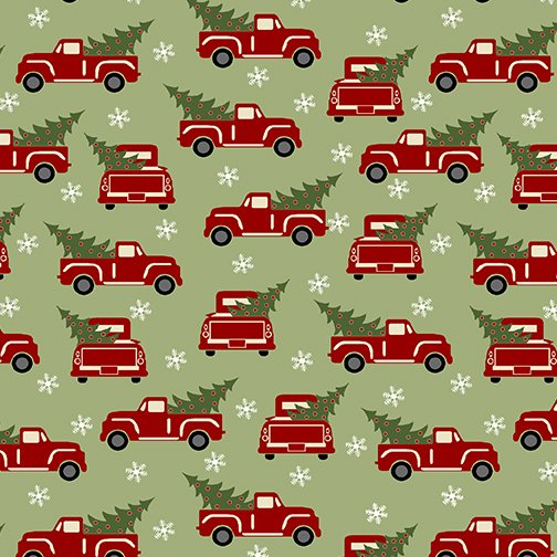 Fabric-Benartex Jingle Bell Flannel Red Trucks on Green