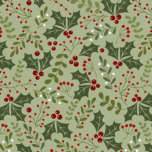 Fabric-Benartex Jingle Bell Flannel Holly on Green
