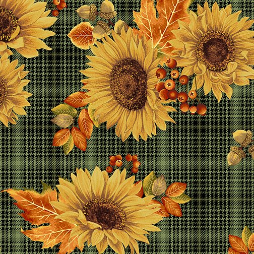 Fabric-Benartex Autumn Elegance Sunflower on Green Plaid