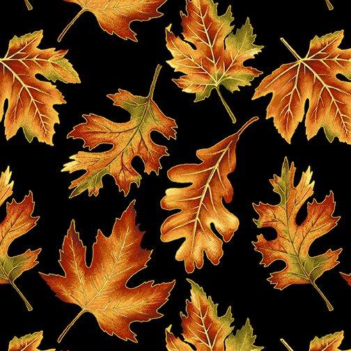 Fabric-Benartex Autumn Elegance Leaves on Black