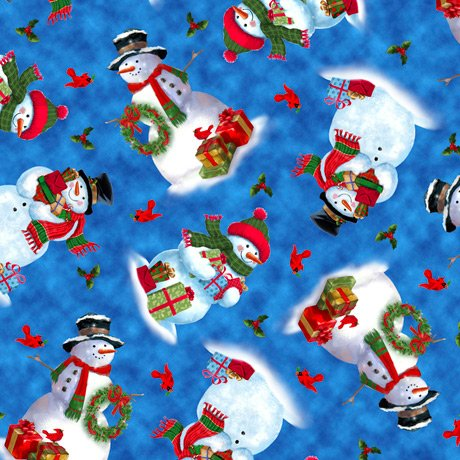 Fabric-QT Minky Frosty Friends Tossed Snowmen Denim