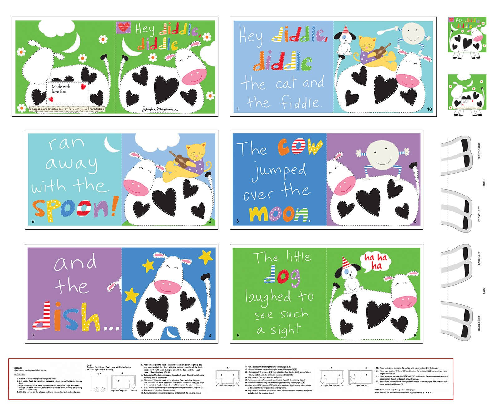 Fabric Panel-Stu E Huggable & Lovable Book Hey Diddle Diddle