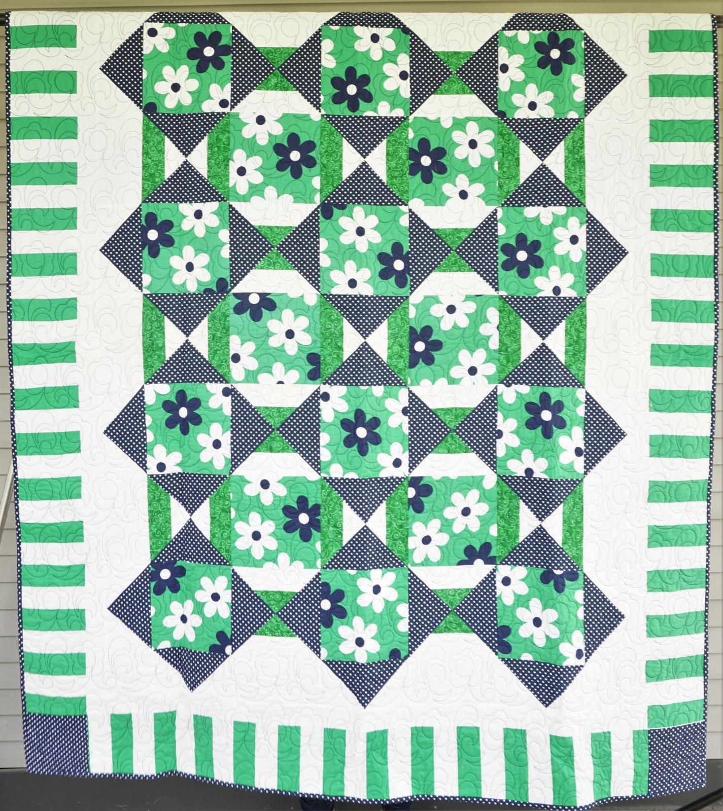 Sample-Green Blue & White Floral Lap Quilt 64W x 78L