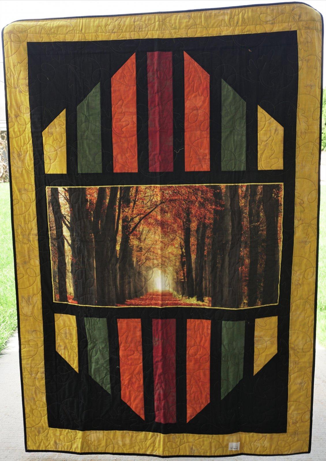 Sample-Fall Artwork Reflections 56W x 77L Lap Quilt