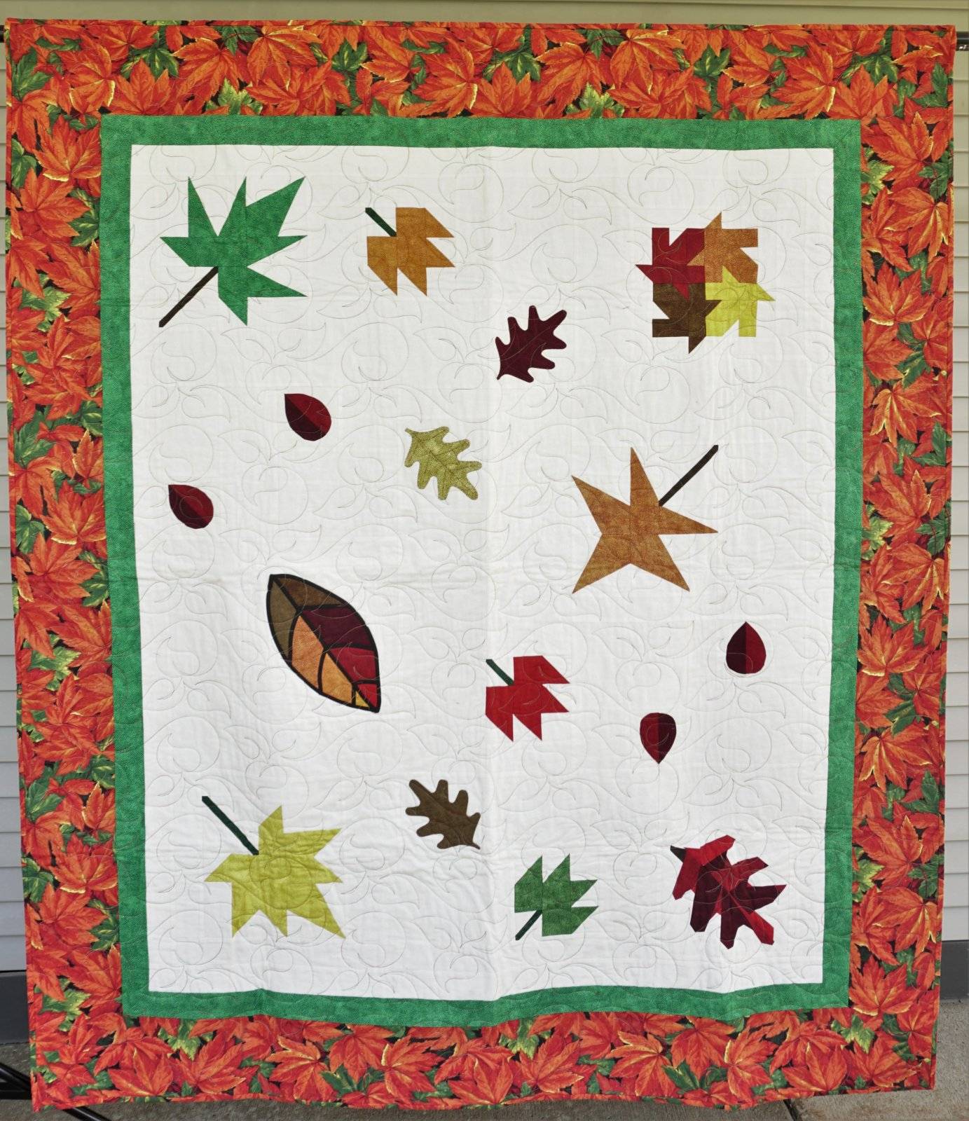 Sample-Falling Leaves 63W x 72L Lap Quilt