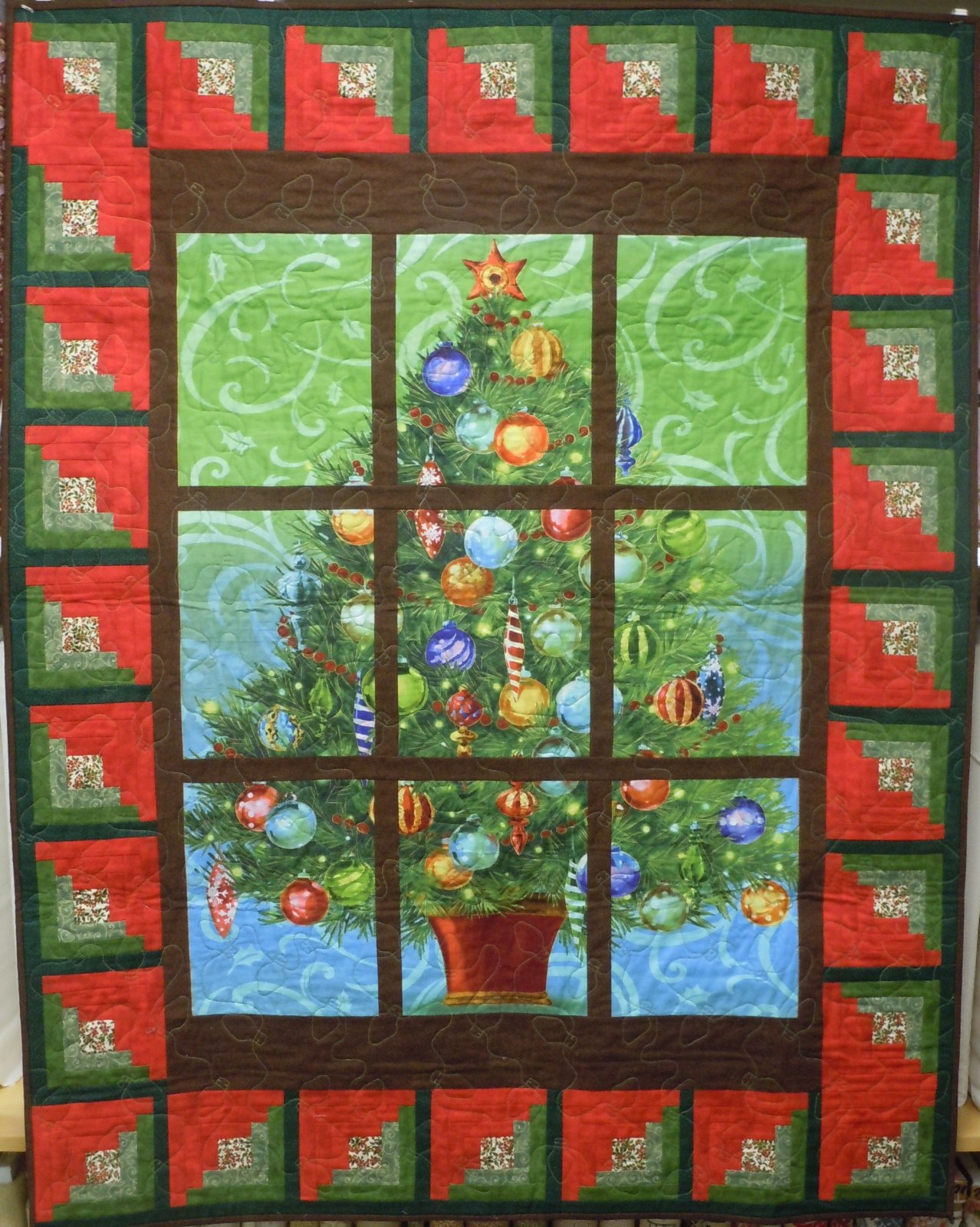 Wall Quilt Kit-Christmas Tree Window Pane 43W  x 55L