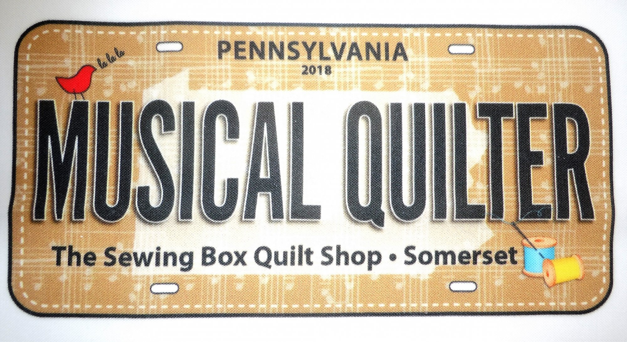 License Plate-Fabric RXR Musical Quilter