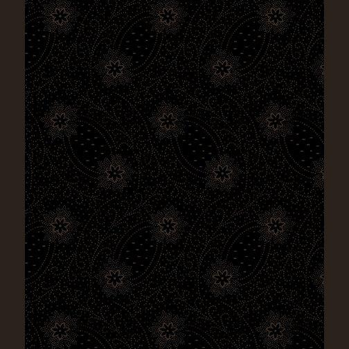 12421-99 Dotted Flowers & Scrolls Black/Black