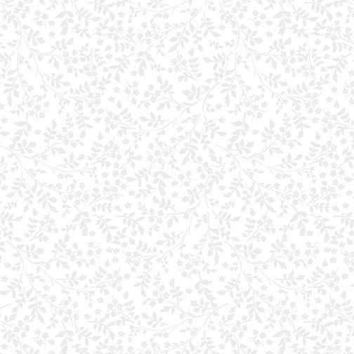 12422-09 Flower Foliage White/White
