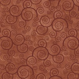 Harmony Cotton- Curly Scroll Terracotta