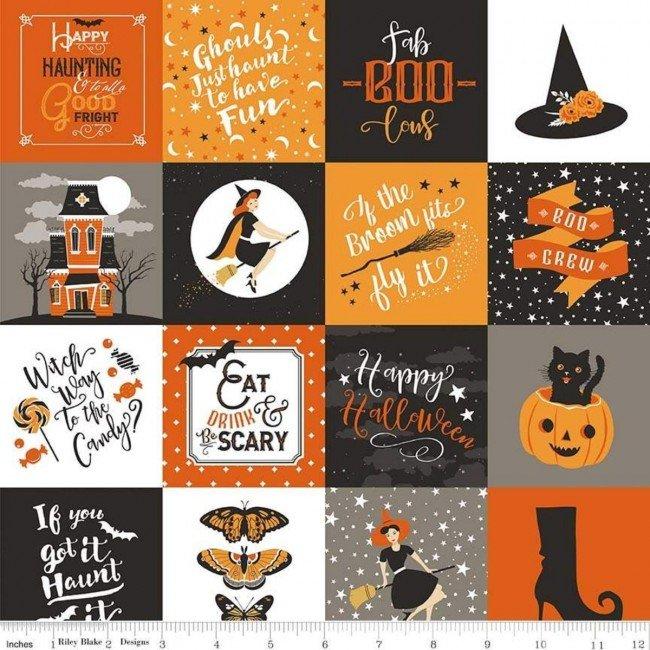 Fabric Riley Blake Fab-boo-lous Hats Squares Orange