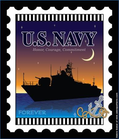 Fabric US Navy Mini Stamp 6x7 inches