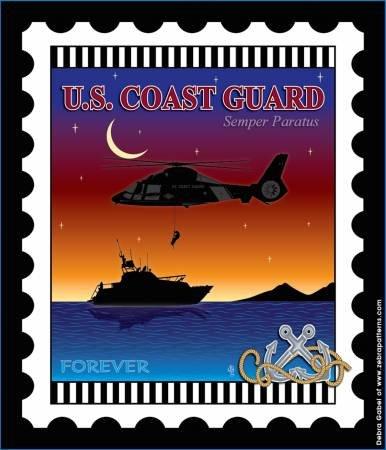 Fabric US Coast Guard Mini Stamp 6x7 inches