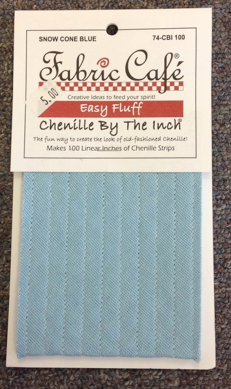 Fabric Cafe's Chenille By The Inch - Snow Cone Blue