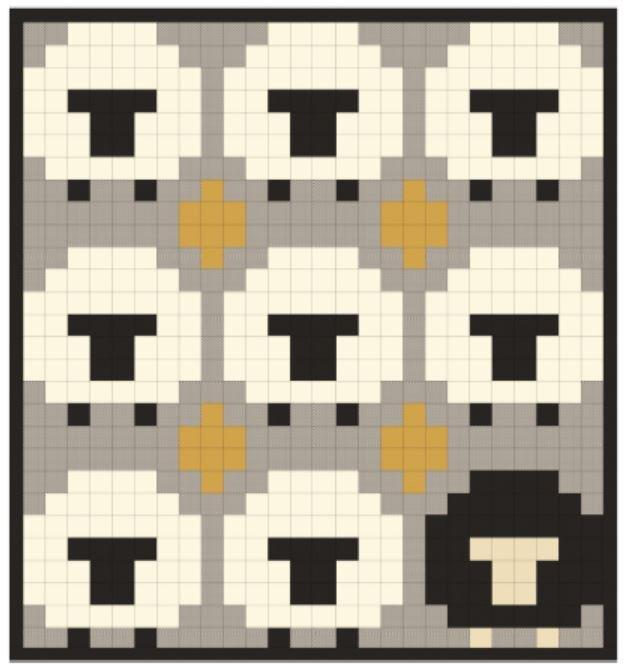 0. Be Ewe-nique Quilt top kit using Tensisters Easy Piecing Grid