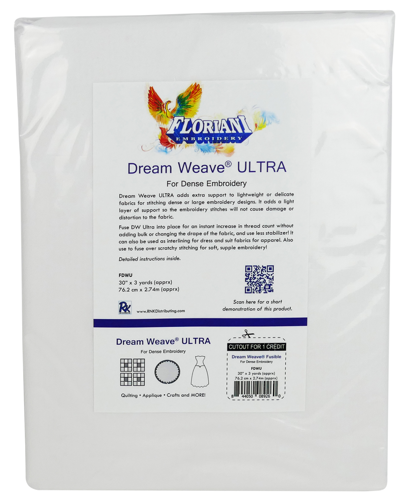 FL Dream Weave Ultra White (Fusible) 30 x 3 yds