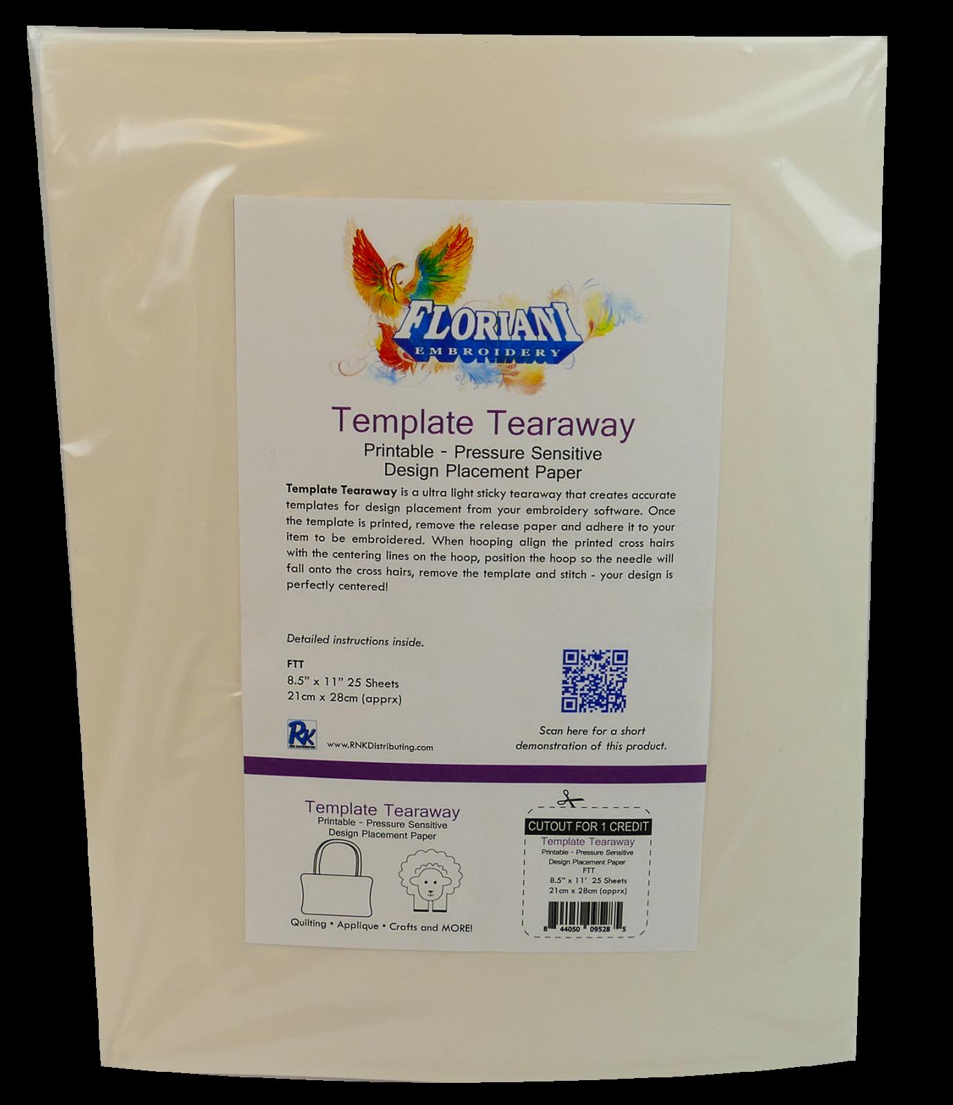 FL Template Tearaway 8 1/2 x 11 - 25 pcs/pkg