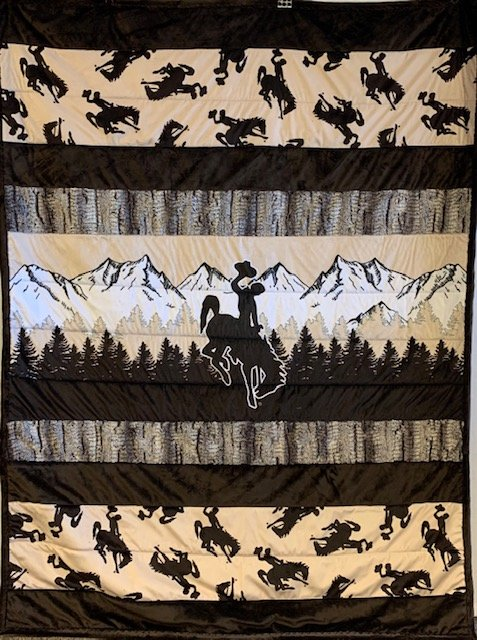 Wyoming Cowboy Minkee Row by Row COMPLETED- Brown