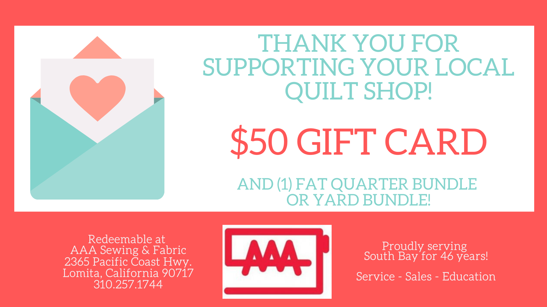 $50 Gift Card (Includes fabric bundle!)