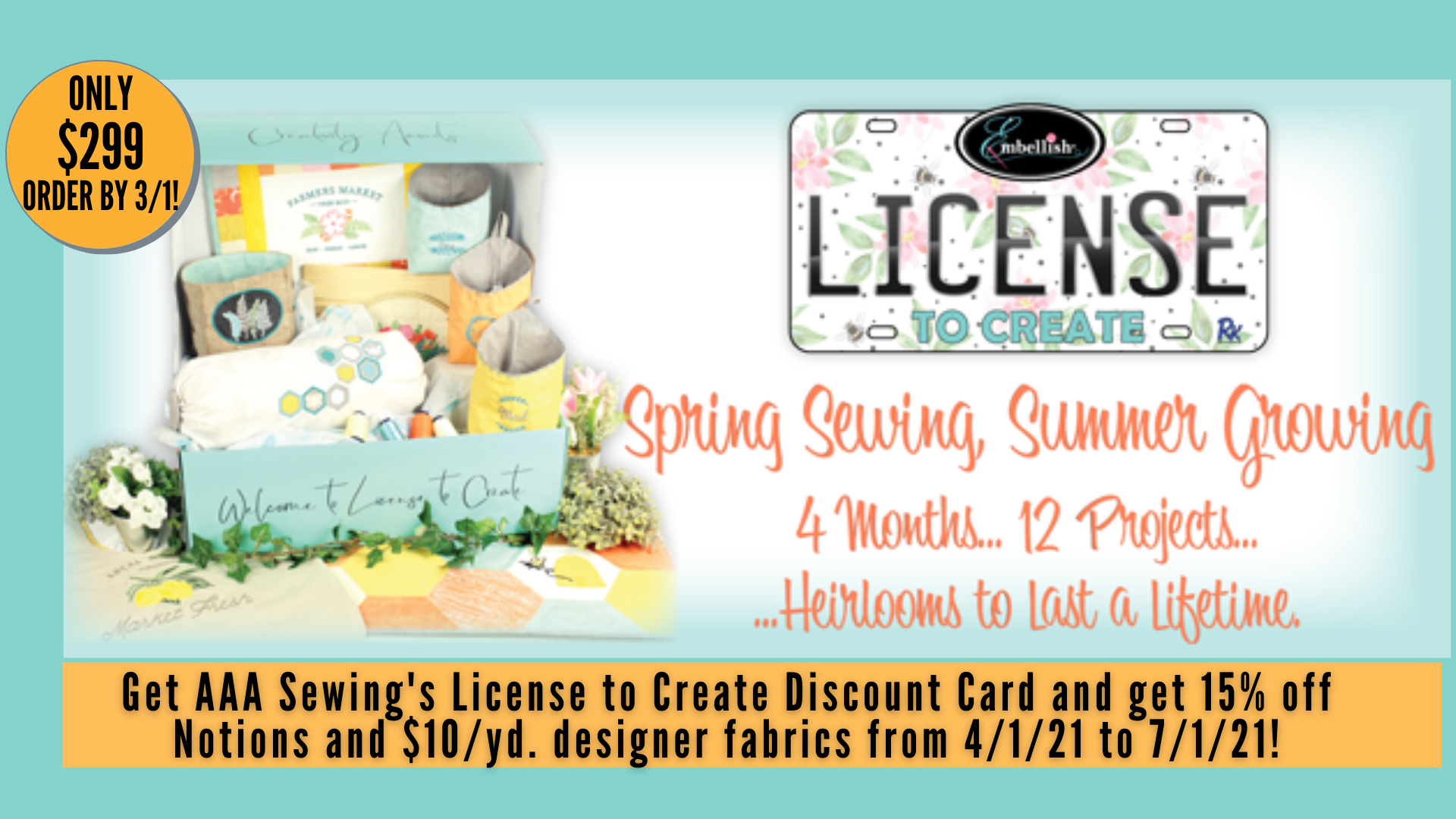 License to Create Kit - Spring Sewing, Summer Growing (Includes Special AAA Sewing Discount Card!)