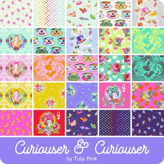 PRE-ORDER: Tula Pink Curiouser and Curiouser Fabric Line - 1/2 Yard Cuts (25 Total Cuts)