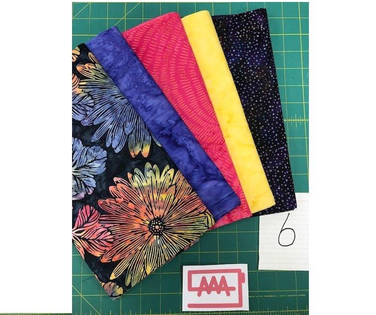Five 1-Yard Cuts Batik Group #6