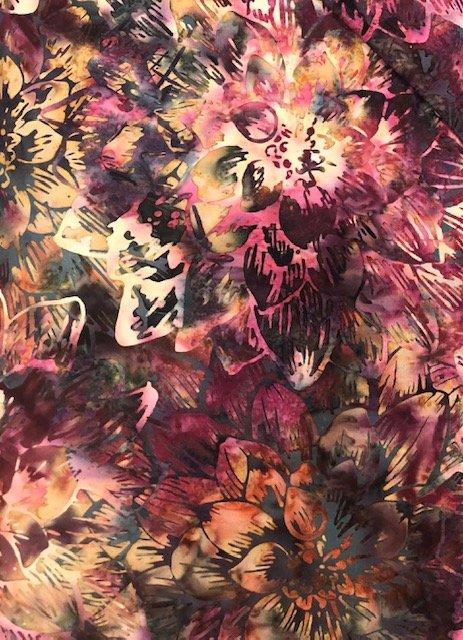 Batik by the Yard: Purple Flowers
