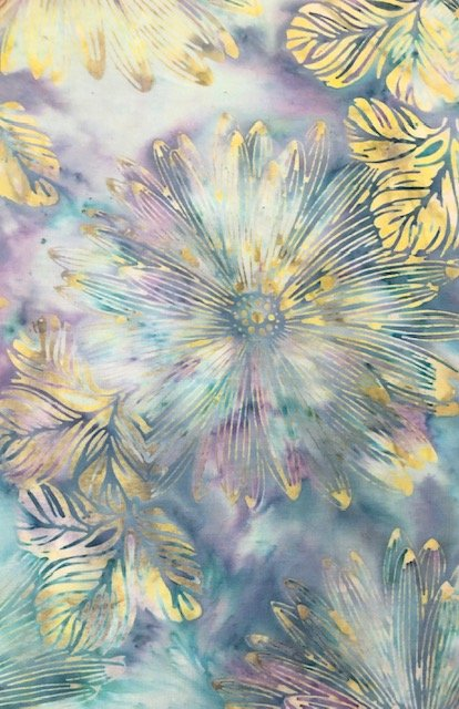 Batik by the Yard: Gold Floral