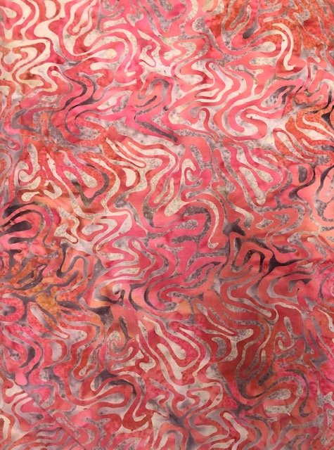 Batik by the Yard: Red Waves
