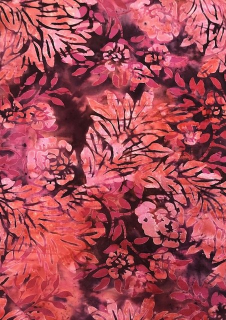 Batik by the Yard: Red Leaves