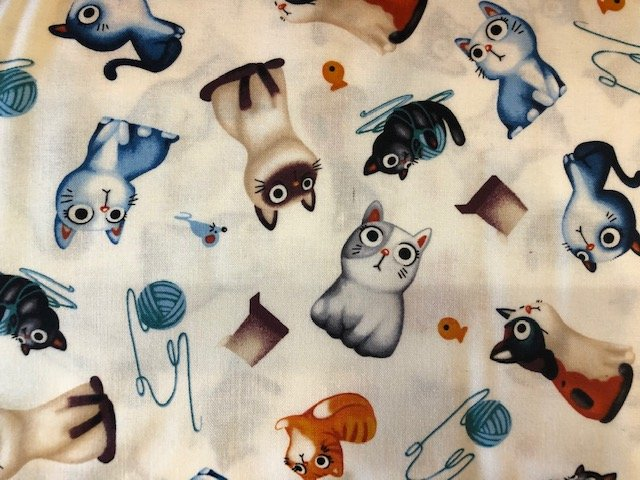 Novelty Fabric by the Yard: Funny Cats
