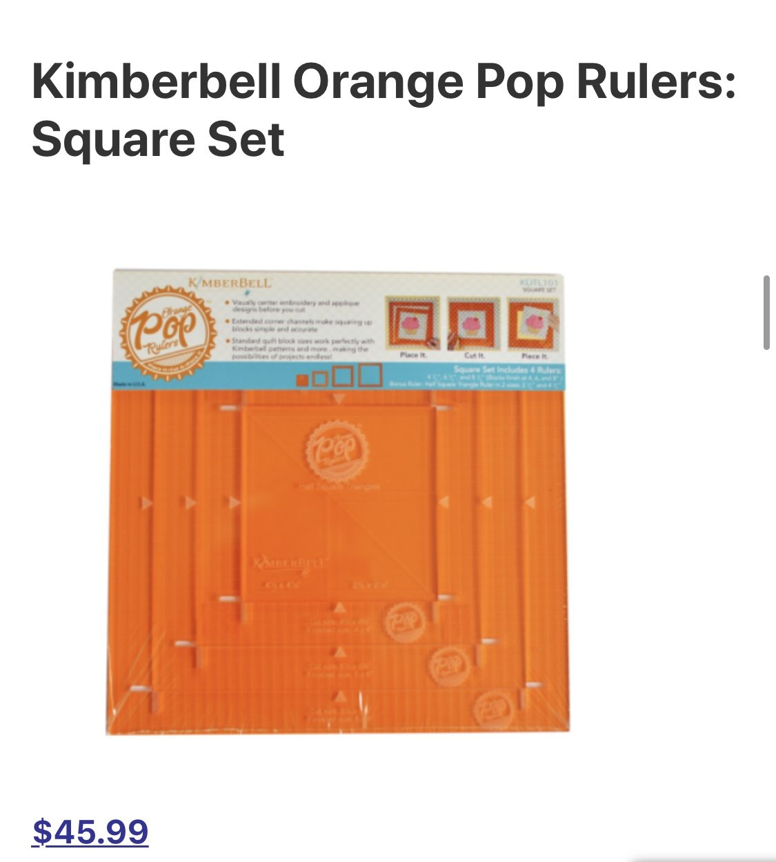 Kimberbell Orange Pop Rulers: Square Set