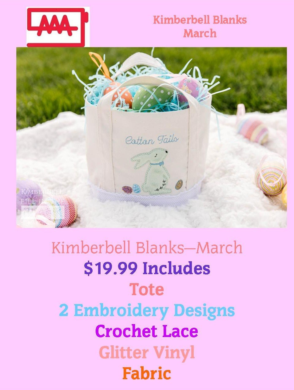 Kimberbell March Blank Kit - Bunny Busket (Kit Shipped to You)