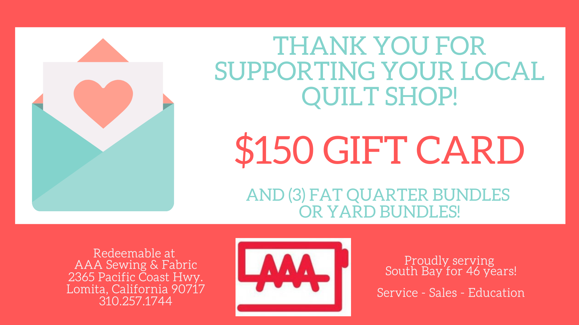 $150 Gift Card (Includes fabric bundle!)