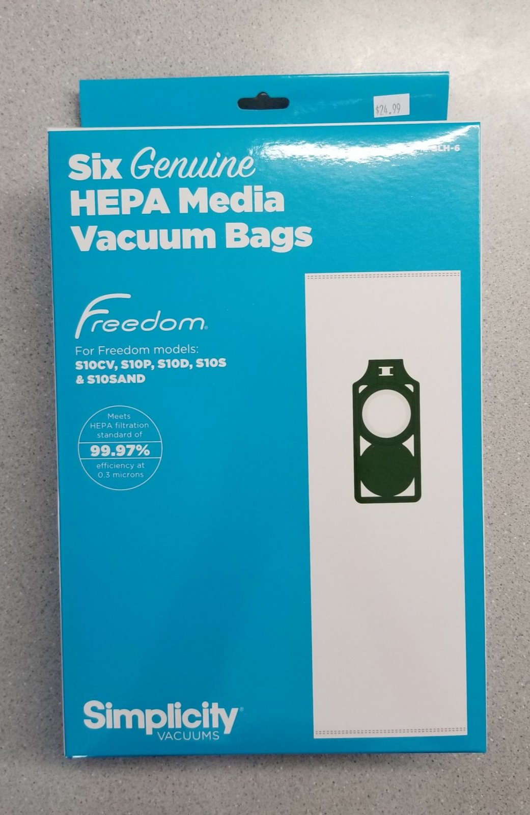 Simplicity or Riccar Freedom Bags with Green holder SLH-6 Pkg of 6