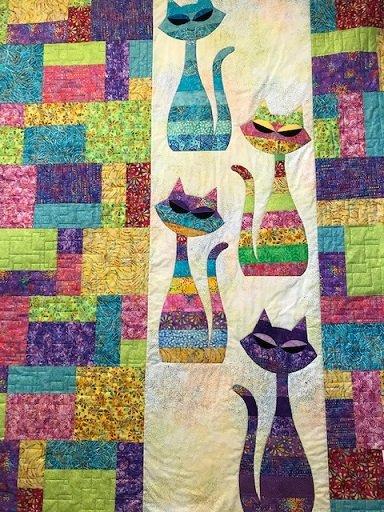 SALE--Bright Mod Cat quilt kit