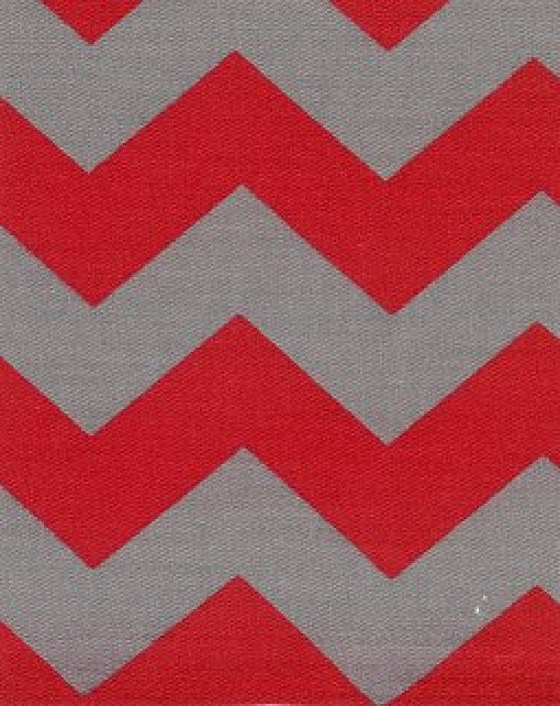 Red and Grey Chevron Print Twill - Fabric Finders