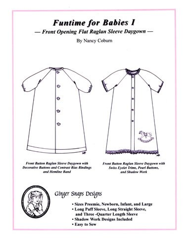 Funtime for Babies I - Front Opening Flat Raglan Sleeve Daygown - Ginger Snaps Designs