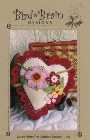 Lacey Heart Pincushion Sachet Hand Embroidery By Bird Brain Designs