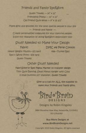 Friends & Family Redwork - Hand Embroidery by Bird Brain Designs