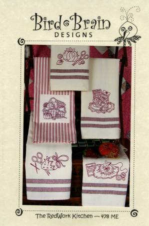 Redwork Kitchen Tea Towel Machine Embroidery By Bird Brain Designs Cd