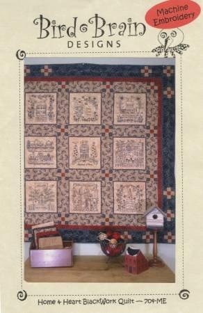 Home Heart Blackwork Quilt Machine Embroidery By Bird Brain