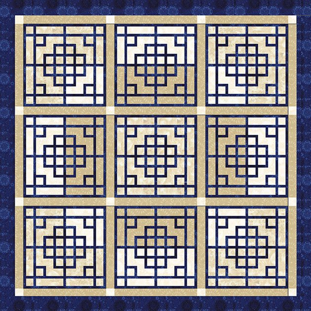 Chinese Lattice Bohemian Blues 75 x 75