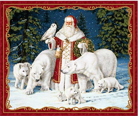 ALL IS CALM ARCTIC SANTA FABRIC PANEL(36)