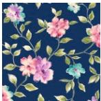 Ariel Floral Vine Navy 100% Cotton Fabric by QT