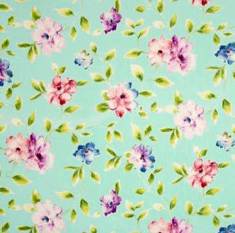 Ariel Floral Vine Lt  Aqua 100% Cotton Fabric by QT