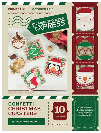 Anita Goodesign Express Confetti Christmas Coasters Embroidery Designs